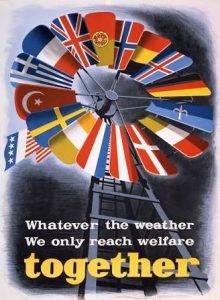 """Marshall Planı Afişi """"Hava nasıl olursa olsun, ancak refaha ulaşacağız, birlikte!"""""""